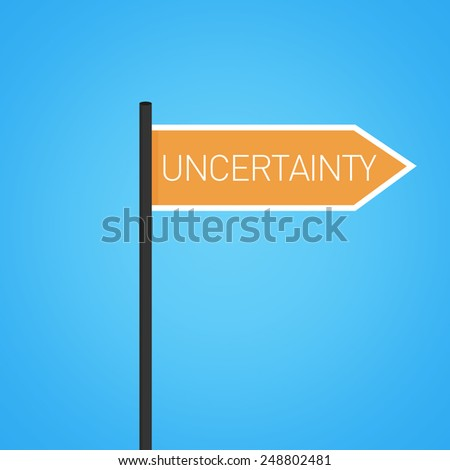Uncertainty nearby, orange road sign concept, flat design - stock photo