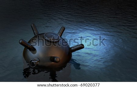 Unchained sea mine laying waiting on the water surface