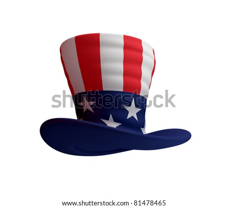 Uncle's Sam hat. 3d rendered. Isolated on white background. - stock photo