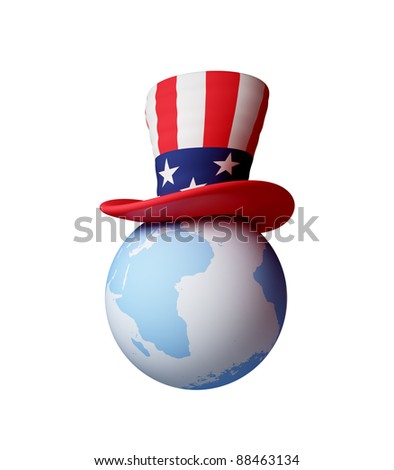 Uncle's Sam hat on a globe. 3d rendered. Isolated on white background. - stock photo