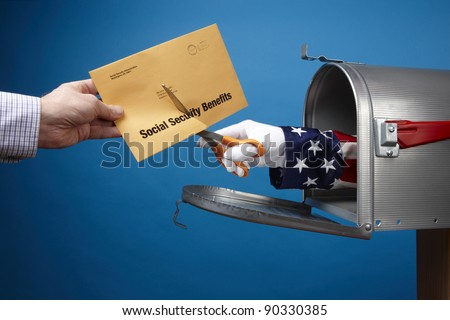 Uncle Sam comes out of mailbox to cut social security envelope, includes space for copy - stock photo
