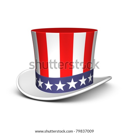 Uncle Sam hat. Isolated on the white background - stock photo