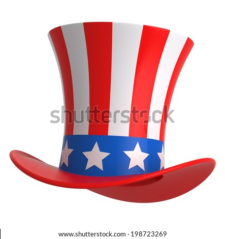 Uncle sam hat isolated on white. - stock photo