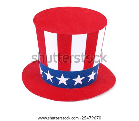 Uncle Sam hat on a white - stock photo