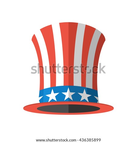 Uncle Sam hat on white background. Cylinder USA flag. National Patriotic cap in America
