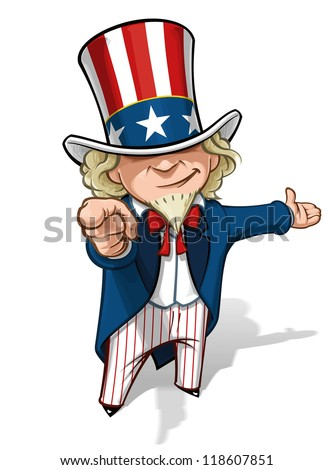 """Uncle Sam """"I Want You"""" Presenting - stock photo"""