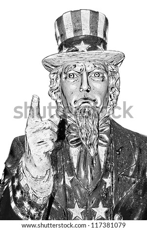 Uncle Sam in black and white, isolated