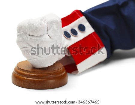Uncle Sam Judgment with Fist Isolated on White Background. - stock photo