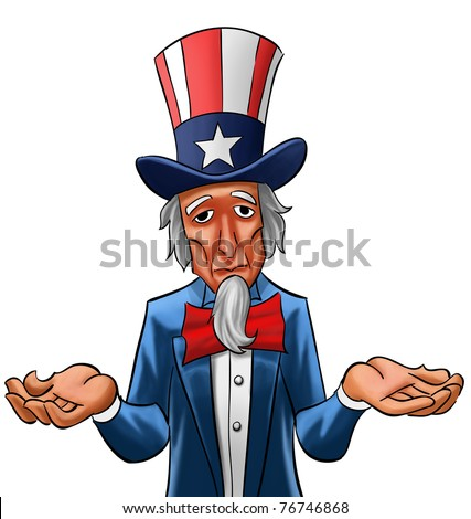 Uncle sam painted, he looks not so happy - stock photo