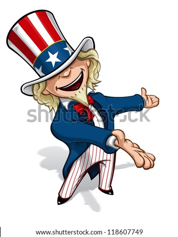 Uncle Sam Presenting - stock photo