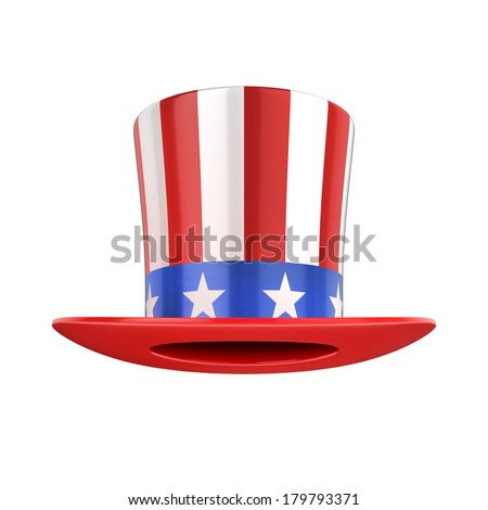 Uncle Sam's american hat isolated on white - stock photo