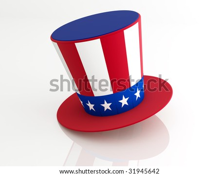 Uncle Sam's Hat isolated on white - rendering - stock photo
