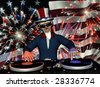 Uncle Sam's in the House and spinning some patriotic tunes. Turntables with vinyl albums and a fireworks light show. - stock photo