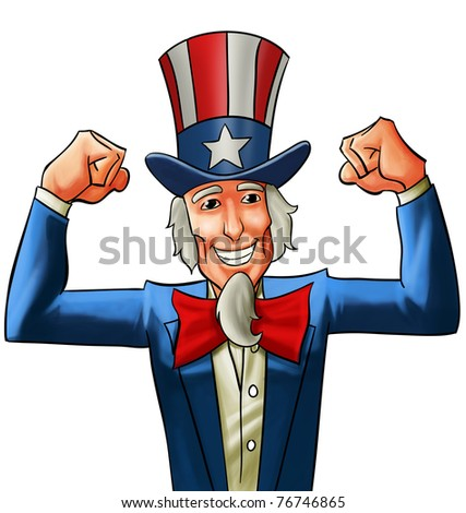 uncle sam very happy, he got his fists up - stock photo