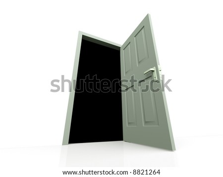 Unclosed door on a white background