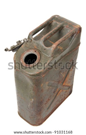 unclosed rusty jerrycan - stock photo