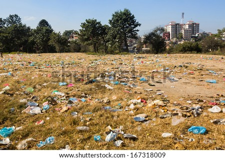 Uncontaminated landscape in Nepal. Environmental pollution.  - stock photo
