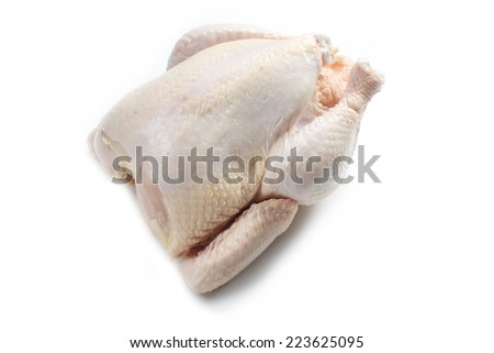 uncooked chicken on white background - stock photo