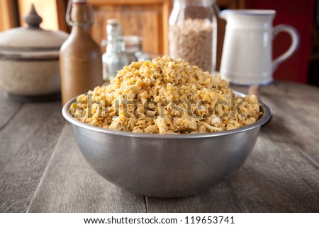 Uncooked falafel batter or dough in a bowl - stock photo