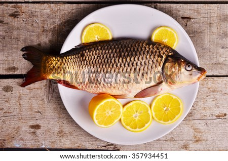 uncooked  fish ready to be cooked with fresh lemons - stock photo