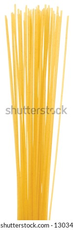 Uncooked Italian spaghetti on a white background. Clipping path included. - stock photo