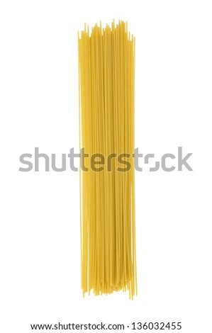 Uncooked Italian spaghetti on a white background. Clipping path included.