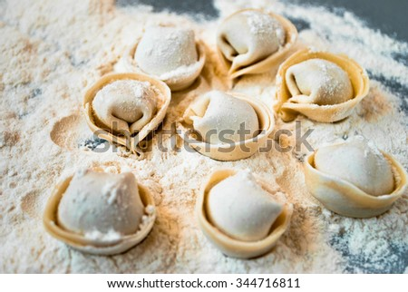 Uncooked meat dumplings lies on a flour and blue wooden desk - stock photo