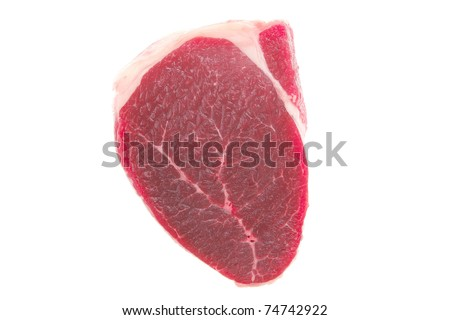 uncooked meat : raw fresh beef pork tenderloin strip ready to cooking isolated over white background - stock photo