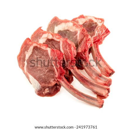 Uncooked mutton rack of lamb studio shot on white - stock photo