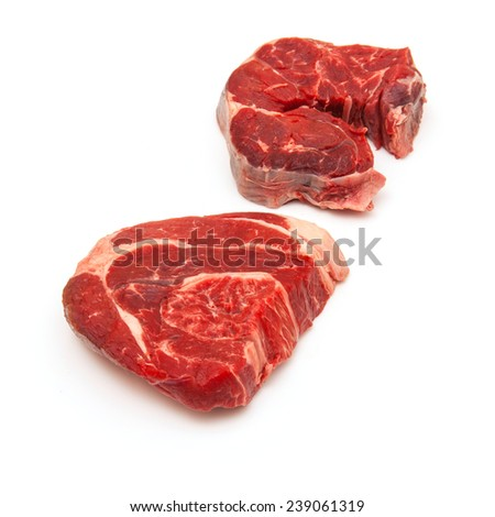 Uncooked organic shin of beef meat isolated on a white studio background, - stock photo