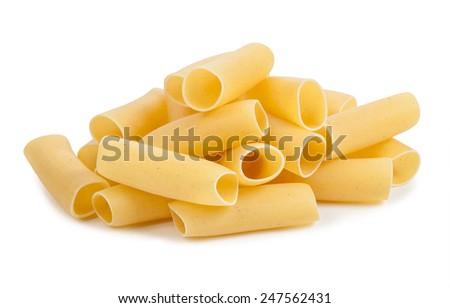 uncooked pasta isolated on white background - stock photo