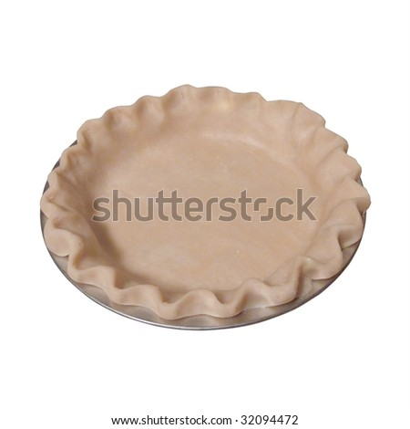 Uncooked pie crust in pan isolated on white with clipping path. - stock photo