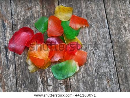 uncooked prawn crackers - stock photo