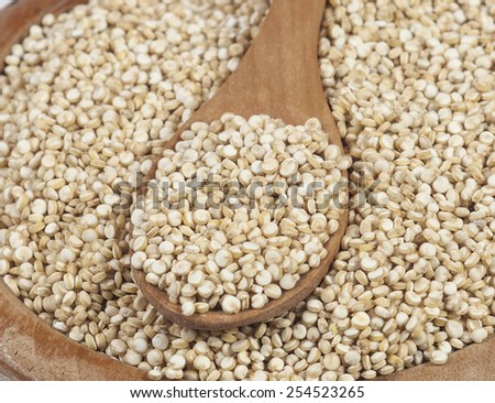 Uncooked quinoa in the wooden bowl and spoon. Macro image with selective focus. - stock photo