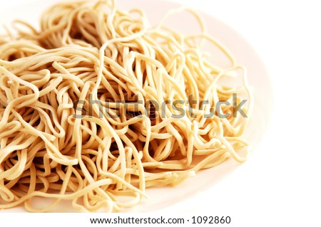 Uncooked raw Asian/ Chinese noodle. front focus, intentional selective focus.