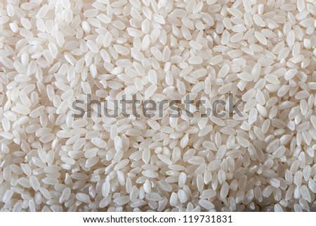 Uncooked raw white rice background - stock photo