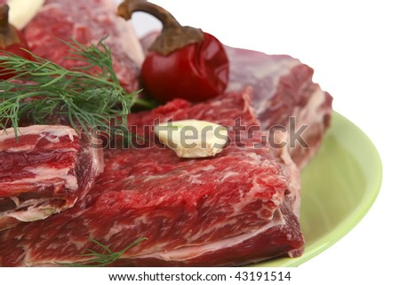 uncooked ribs on green dish over white