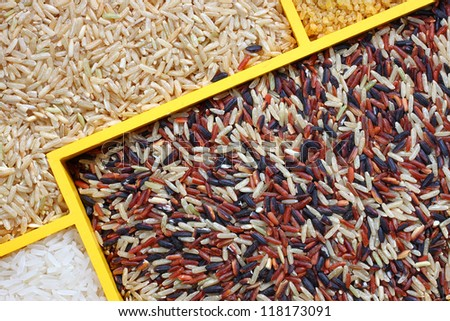 uncooked rice, uncooked raw cereals, macro closeup , rice mixture