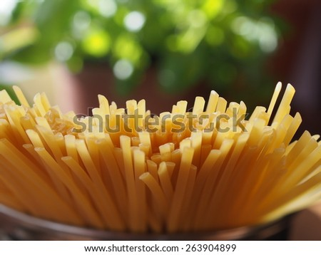 uncooked  spaghetti on green basil background - stock photo