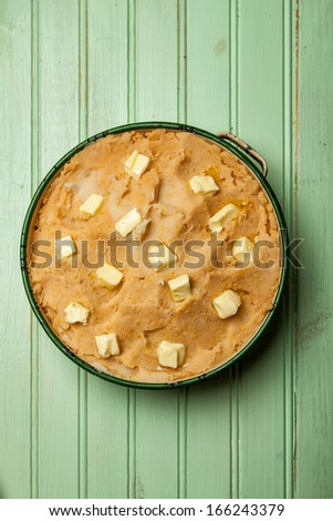 Uncooked Spiced Lamb Pie with Chickpea Potato Mash - stock photo