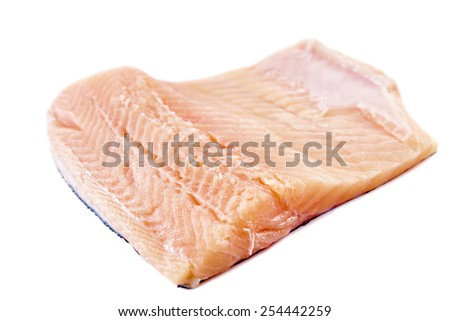 Uncooked trout fillets isolated on white background - stock photo
