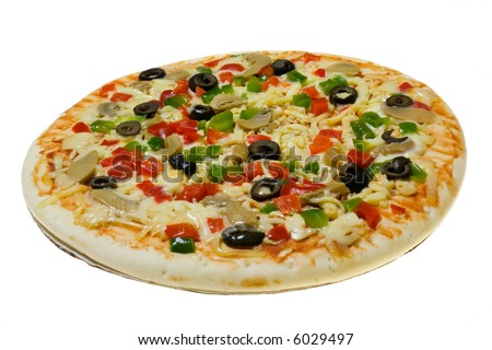 Uncooked Vegetarian pizza isolated on white background - stock photo