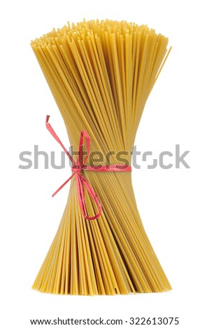 Uncooked Whole-Wheat Spaghetti Tied in Bundle Isolated on White Background - stock photo