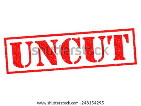 UNCUT red Rubber Stamp over a white background. - stock photo
