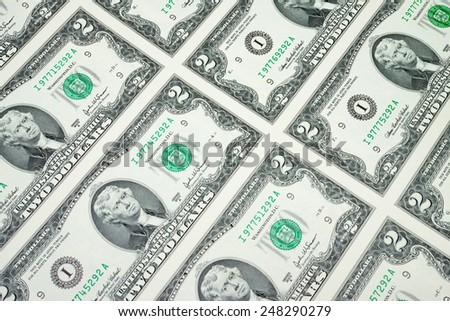 Uncut sheet of two dollar bills money background - stock photo