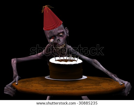 Undead Zombie blowing out candles on a Birthday Cake. Isolated on a black background. - stock photo