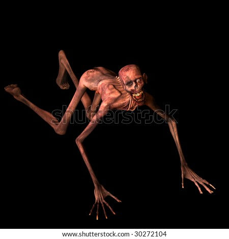 Undead Zombie crawling towards you. Isolated on a black background. - stock photo