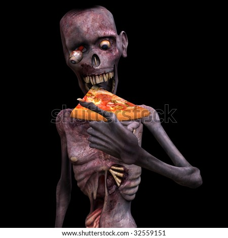 Undead Zombie eating a piece of pizza. Isolated on a black background. - stock photo