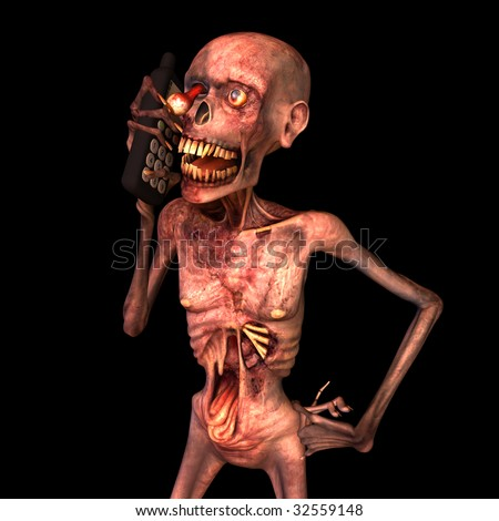 Undead Zombie talking on his cell phone. Isolated on a black background. - stock photo