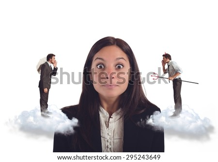 Undecided woman listens suggestions bad and good - stock photo